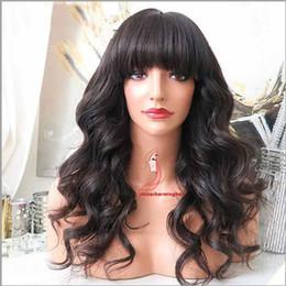 Черные китайские парики онлайн-Парик человеческих волос шнурка бразильского девственницы полный с китайской челкой объемная волна Glueless парик фронта шнурка полный парик шнурка для черной женщины