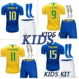 Argentina camiseta de fútbol de brasil casa local brasil kit infantil 18 19 NAYMAR JR P.COUTINHO camiseta de fútbol brasileña kit de niños + pantalones + calcetines cheap brazilian jersey Suministro