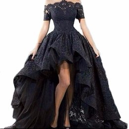 vestido de baile de sereia turquesa tulle Desconto 2019 New Black Lace Strapless Fora Do Ombro Mangas Curtas Alta Low Prom Vestidos de Renda Vestidos de Festa À Noite Vestido Longo AL09