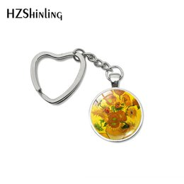 Pinturas led online-Vintage Van Gogh's Oil Paintings Cabochon Heart Keychain Starry Night Painting Jewelry Sunflower Bag Car Holder Accesorios