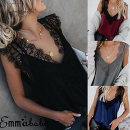 sleeveless v neck lace tank Promo Codes - Sexy Sleeveless Camis Womens 2019 V Neck Tank Tops Cami Lace Casual Plain Summer Lady Camisole Shirts