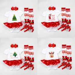 Arcos pies de bebé online-Baby Girls Cartoon Romper Merry Christmas Theme Jumpsuit Lace Bow-Tie Dot Rayas Onesies Body Cubierta del pie Diadema Zapatos 06