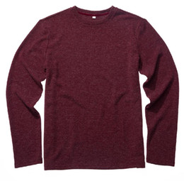Blusas de cor clara on-line-Vermelho 2018 outono nova moda masculina de malha circular pescoço pullover solto casual cor lisa camisola homens