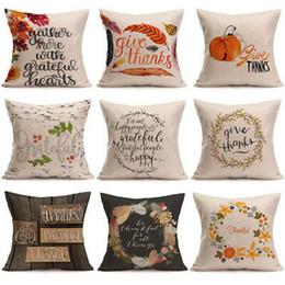 Almohada almohada feliz online-Feliz día de acción de gracias Fundas de almohada Decoración de otoño Ropa de cama de algodón Dar gracias Sofá Funda de almohada Fundas de cojines para el hogar 45 * 45 cm ZZA1088