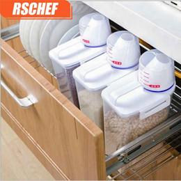 2019 botellas de champú de plástico al por mayor RSCHEF 1 unids Plástico de cocina Contenedor de cereales Caja de almacenamiento de granos Caja de almacenamiento de arroz de frijoles