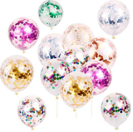 wholesale party toys Promo Codes - New Fashion Multicolor Latex Sequins Filled Clear Balloons Novelty Kids Toys Beautiful Birthday Party Wedding Decorations