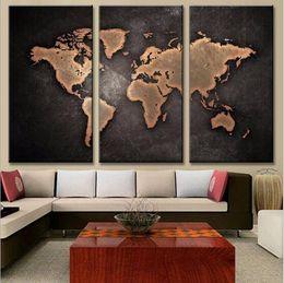 2019 mapas do mundo emoldurados Pinturas HD Abstrato Da Lona Para Sala de estar Arte Da Parede Cartaz 3 Peças Retro Mapa Do Mundo Decoração Pictures Modular Sem Moldura mapas do mundo emoldurados barato
