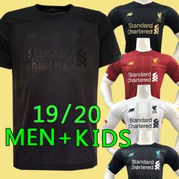 Kits de futebol preto on-line-liverpool 2019 2020 New Mohamed Salah camisa de futebol 6 troféu 2019 MANE Tops camisa de futebol VIRGIL FIRMINO Kits ALISSON BECKER maillot preto