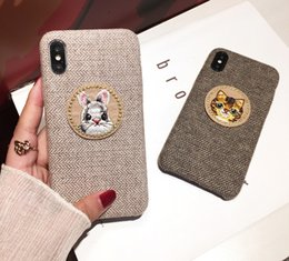Nette katze kaninchen panda telefon case für iphone x 7 8 6 6 s plus kreis patch stoff rückseitige abdeckung für iphone xs max xr fällen von Fabrikanten