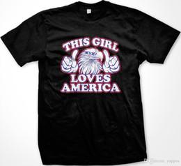 Canada 2018 Nouveautés Soldes Cette fille aime l'Amérique Bald Eagle Thumbs Fier Patriote Américain T-shirt Anime Casual cheap eagles love Offre