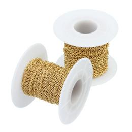 Rollos de cadena online-Venta al por mayor 10 yardas / rollo a granel de color oro cadenas de eslabones de cable de acero inoxidable 1.5 mm 2 mm 2.2 mm ronda O enlace Rolo joyas cadena resultados