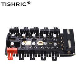 cavi pwm Sconti TISHRIC 1 a 10 4 pin PC Pwm Fans 4Pin Sata Hub Splitter con LED Molex cavi raffreddamento 12V Suppply adattatore di raffreddamento per l'industria mineraria
