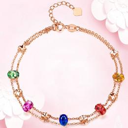 Doppelschicht Luxus Armband Für Frauen Bunte Zirkon Glück Vierblättriges Kleeblatt Rose Gold Farbe Party Geschenk Modeschmuck KBH232 von Fabrikanten