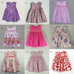 Bambine che vestono l'inghilterra online-Abiti per bambini con rosa floreale Ragazze Beach Dress Le piccole bambine Cute Dress Girls Inghilterra Gonna di stile vestiti esterni 2019 Nuova estate