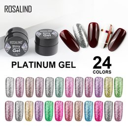 uñas de platino Rebajas ROSALIND Platinum Gel Barniz para esmalte de uñas Set Base Top Coat Manicure Painting Gel Polish Lak Soak off 5ML UV Hybrid Primer