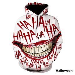 Sudadera joker online-HAHA Joker divertido con capucha de Halloween sonrisa loca suéter con capucha manga larga Moda Stree Coats unisex fresco Sportwear