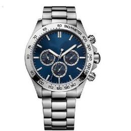 Moda Kuvars Chronograph erkek Izle 1512963 Paslanmaz Çelik Bir Boyut Mavi Chronograph Dial İzle + kutusu nereden