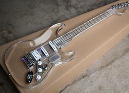 Canada Livraison gratuite usine personnalisée en verre acrylique guitare électrique avec micros SSH, 22 frettes, matériel de Chrome, offre personnalisée Offre