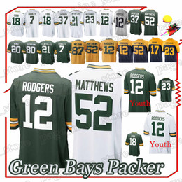 bfef1823d Packer jerseys 12 Aaron Rodgers Randall 18 Cobb Clay 52 Matthews Jaire 23  Alexander new men football jerseys aaron rodgers jerseys for sale