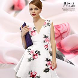 Argentina Primavera y verano, nueva tela de crepé de seda, impresión de inyección de tinta digital rosa en falda de tela blanca, ropa de seda de gusano de seda. Suministro