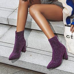 2019 botines morados sexy las mujeres Rimocy cargadores atractivos brillo púrpura 8,5 cm de alto zapatos de tacón de moda de lujo mujer en punta del dedo del pie botas de tobillo de plata a cuadros de leopardo botines morados sexy baratos