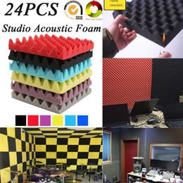 Paneles de aislamiento acústico online-Paneles Tratamiento (24pack) eggcrate estudio de grabación de sala de sonido acústico de espuma de insonorización sonido baldosas de aislamiento de absorción incombustible 25x5cm