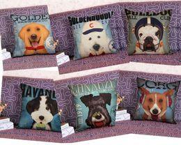 2019 almofadas de almofadas para cão Decoração Capa de Almofada Filhote de Cachorro Pug Pet Dog Impressão Sofá Assento Fronha Quadrado Padrão Animal Linho Caso 45x45 CM PRESENTE almofadas de almofadas para cão barato