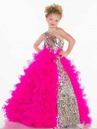 2019 fluffy una spalla ragazze pageant abiti paillettes pavimento lunghezza tulle bambini abiti occasioni formali per il compleanno di partito da immagini abiti per bambini 11 fornitori