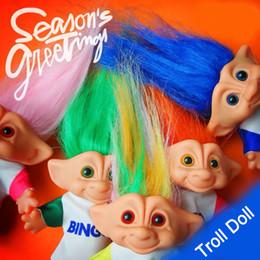 Vestidos de boneca vintage on-line-Indian trolls boneca Feio-Vintage 10 cm boneca troll DIY impressão frente e verso vestido de pvc boneca troll coleção decoração do partido