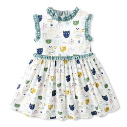 new european dress designs Coupons - Exquisite Girl Kids Clothing New Arrival Summer Gir Elegant sleeveless Cartoon Color Cat Design high quality cotton baby kids Princess dress
