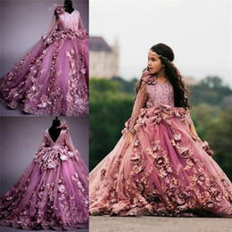 kids red evening gowns Promo Codes - 2019 Vintage 3D Flora Flowers Ball Gown Girl Pageant Dresses Sheer Long Sleeve Appliques Floor Length Kids Toddler Pageant Evening Gown