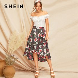 f60d946890 Bohemian Ruffle Trim Floral Geometric Wrap Midi Skirt Summer Lady Casual  Mid Waist Belted Beach Vacation Skirt C19041001