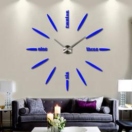 horloges murales de luxe modernes Promotion Hot 3d miroir luxe moderne bricolage grande horloge murale surface autocollant décor de bureau à domicile livraison gratuite