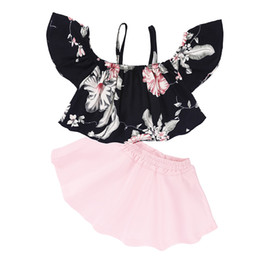 skirt style coats Coupons - Girl Floral Suit Baby Kids Clothes Coat Short Skirt Two-Piece Suit Sling A-Line Skirt Black Bow Dress Flower 28