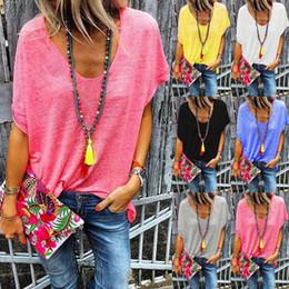 Blusen lösen kurze ärmel online-Stilvolle frauen casual v-ausschnitt kurzarm lose bluse tops sommer candy color t-shirts plus größe