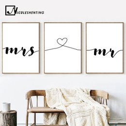 2019 coppie dipingono le immagini Mr Mrs Family Simple Quotes Wall Art Poster Canvas Minimalista Stampa Coppia Anniversary Pittura Immagine per Living Room Decor coppie dipingono le immagini economici