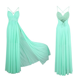 Vestido verde menta raja online-wholesale Women's Bridesmaid Dresses Mint Green Tulle Pleated Slit Beach New Style Party Gown