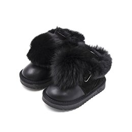 Botas chicas botas de invierno online-2018 Winter New Cotton Children's Shoes Plus Fluffy Ball Girls Snow Boots High-end Fur for Children One Boots