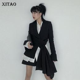 ropa de mujer a juego Rebajas XITAO Irregular Match All Black Blazer Ropa de mujer 2019 Office Lady Slim Notched Collar Single Breasted Otoño Nuevo GCC1015