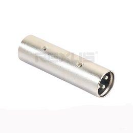 10 unids / lote XLR Canon macho a macho Adaptador Enchufe Conector de aleación Znic grande de 3 núcleos de plata desde fabricantes