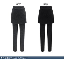 7ebc7b80c1e 2019 new fashion trend sexy large size package hip skirt pants fake two  pieces of leggings plus velvet thickening women warm and thin