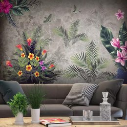 Papel de parede de pássaro vintage on-line-Foto feita sob encomenda 3D Wallpaper Vintage Pastoral tropical da floresta tropical Flores Aves Fundo da parede Pintura Sala Quarto Decor