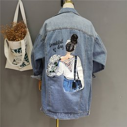 BF Design Autumn Long Style Denim Jacket Korean Fashion Back Cartoon Print Coat Casual Loose Outfit Cardigan von Fabrikanten