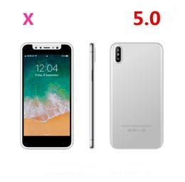 teléfonos celulares desbloqueados mp3 Rebajas Goophone X 5.0 pulgadas que se muestran 4G LTE Smartphones 4G Quad Core 3D Touch desbloqueado MP3 Atrás Teléfonos celulares de vidrio X131