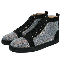 Mocasines de encaje de strass online-Moda Suede Leather Men Casual Shoes Rhinestone Mens Casual High Top Lace Up Sneakers Mocasines planos Calzado Runway Chaussures Hommes