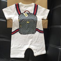 sacos estampados de algodão para menina Desconto 2019 Bonito Sacos de Impressão Marca Romper Do Bebê Verão Listrado Manga Curta Do Bebê Da Menina do Menino Romper Macacão Infantil Crianças de Algodão bebê Vestir Shippin Livre