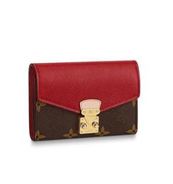 Argentina Nuevo diseñador Flap fondo rojo mujer corto billeteras cuero multicolor Portatarjetas clásico Paquete de tarjeta bancaria Thin Purse con caja cheap women red wallets Suministro