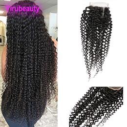 2019 cheveux indiens frisés Fermeture de dentelle de cheveux humains indiens 4x4 avec des cheveux de bébé 8-20 pouces Kinky Curly Lace Closure Free Middle Three Part cheveux indiens frisés pas cher