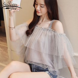 Женские белые блузки короткий рукав онлайн-Fashion chiffon blouse womens clothing white blouse sexy slash neck women shirts short sleeve blouses lace women tops 1988 50
