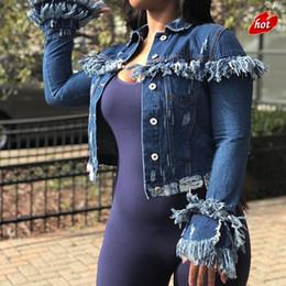 chaqueta de lentejuelas con capucha Rebajas Chaqueta de mezclilla vintage Mujer Denim New Wear Short Woolly Tassels Broken Feminina Jeans Mujeres Abrigos básicos chaquetas para O8R2